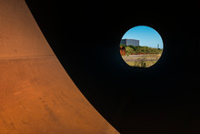 Geometrical Abstract Shapes In Rusty Corten Steel And Black Shadows