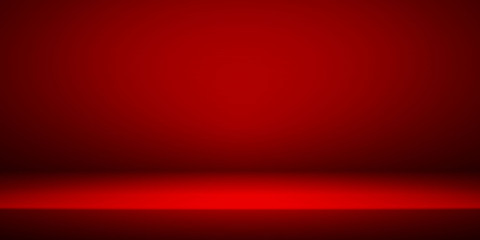 Empty red studio room interior. Clean workshop for photography or presentatio...