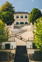 Woman Going Up The Stairs At F¸rstenberg Garden, Prague, Czech