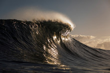 Powerful Wave Approaching To A Shallow Atlantic Reef In Gran Canaria.