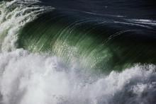 Detailed View Of Violent Sea. Big Ocean Wave Breaking Like A Waterfall
