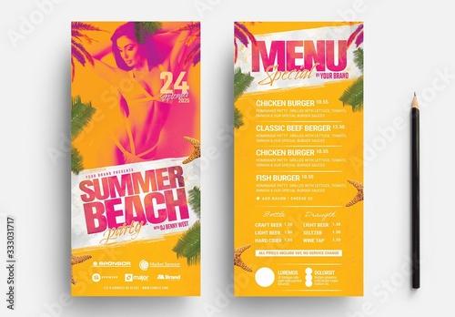 Fototapeta Summer Beach Party Card Layout obraz