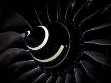 Close Up Of Turbine Jet Engine On Airliner