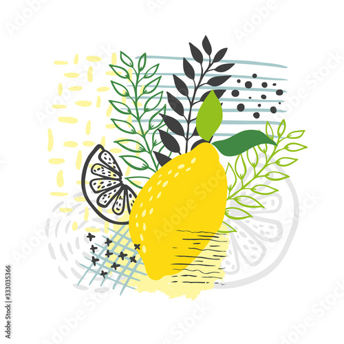 Modern abstract lemon vector leaves background. Hand draw Poster Mural XXL