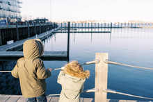 Two Kids At The Harborwalk In Boston.