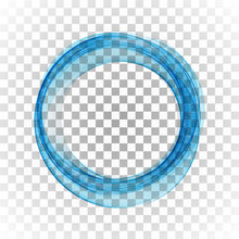Blue Circle Frame. Abstract Flow Of Transparent Vector Waves In The Shape Of A Circle.