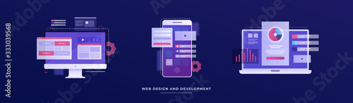 Set of vector illustrations on the theme of web design and development Fototapet