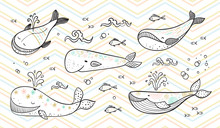 Cartoon Ocean Animals Collection. Different Cute Whales, Small Fish And Sea Waves Vector Set