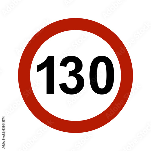 Fotografía Speed limit traffic sign for 130 km/h