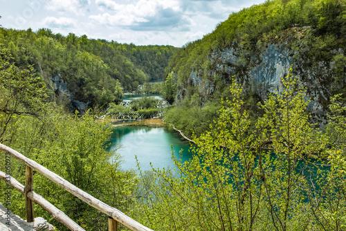Fototapety, obrazy: Plitivice lakes, Croatia: 24th april 2019 - Famous Plitvice lakes in Croatia, Europe, UNESCO, waterfall