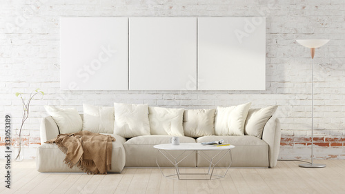 Obraz Living room with a white couch, table, floor lamp and mockup pictures. 3D render illustration. - fototapety do salonu