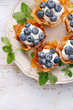 Phyllo cups with Mascarpone cheese filling topped with fresh blueberries sprinkled with powder sugar on a white plate , top view, close up. Delicious filo pastry dessert