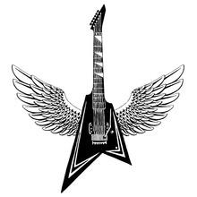 Electric Vector Guitar. Emblem...