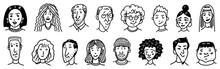 Diverse Faces Of People Set. H...
