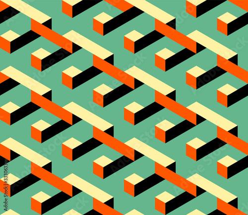 Abstract isometric geometric shape seamless pattern background modern art style