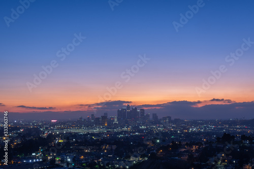 Los Angeles Skyline at Sunset Wallpaper Mural