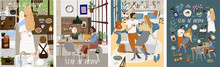 Stay At Home! Set Posters Of Coronavirus Quarantine, Self Isolation. Mother And Kids Cooking At Kitchen, Couple Or Family Staying Together Comfort, Safety. Vector Illustration Banner, Card, Postcard