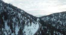 Angeles Crest Highway Winter Snow Aerial Drone
