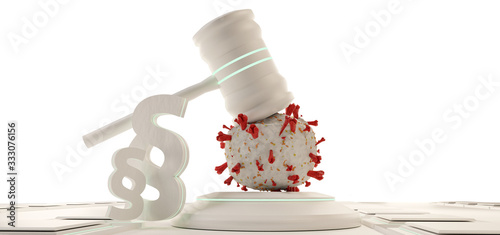Foto law, judge gavel symbolic virus cells. background 3d-illustration