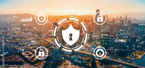 Cyber security theme with downtown San Francisco skyline buildings Canvas