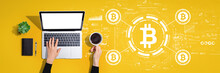 Bitcoin Theme With Person Using A Laptop Computer