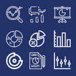 Set of 9 statistic outline icons