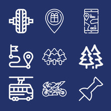Set Of 9 Road Outline Icons