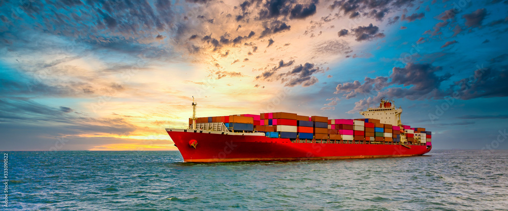 Fototapeta Container cargo ship, Freight shipping maritime vessel., Global business import export commerce trade logistic and transportation worldwide by container cargo ship boat in the open sea