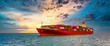 canvas print picture - Container cargo ship, Freight shipping maritime vessel., Global business import export commerce trade logistic and transportation worldwide by container cargo ship boat in the open sea