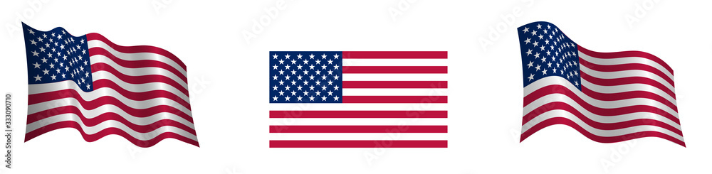 Fototapeta American flag in a static position and in motion, developing in the wind, on a transparent background