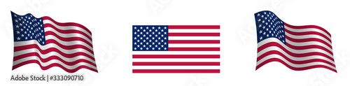 Carta da parati American flag in a static position and in motion, developing in the wind, on a t