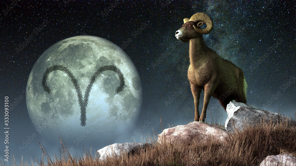 Fototapeta Aries is the first sign of the Zodiac. People born between March 20th and April 19th have this astrological sign. Its symbol is the ram. 3D rendering