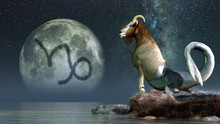 Capricorn Is The Sixth Sign Of The Zodiac.  People Born Between December 21 And January 20th Have This Astrological Sign.  Its Symbol Is The Sea Goat. 3D Rendering
