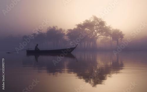 Fototapeta Lake misty fog obraz