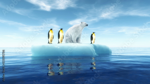 Fotografía Penguins global warming