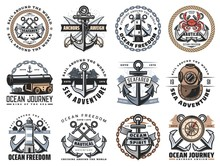 Nautical Icons Of Sea Travel A...