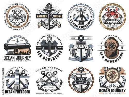 Nautical icons of sea travel and ocean adventure vector design Fototapet