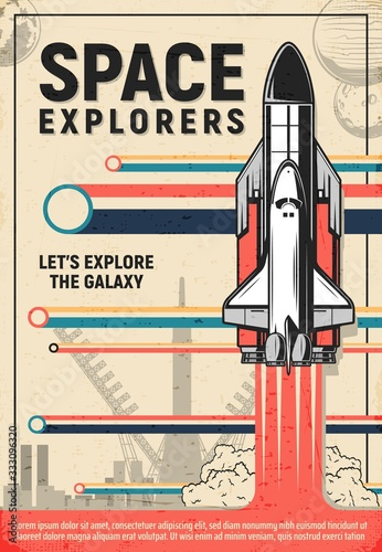 Space rocket launch poster of galaxy explorers and astronomy science Fototapeta