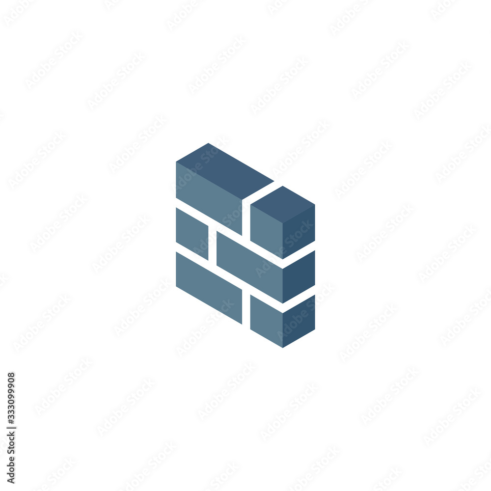 Fototapeta 3d Brick wall, Firewall icon, vector symbol in isometric 3D style isolated on white background.