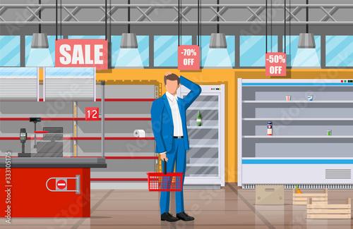 Fototapeta Desperate customer in supermarket with empty shelves. Empty basket, food hoarding. No food or necessities in store. Financial crisis, war epidemic virus. Panic of Coronavirus. Flat vector illustration obraz