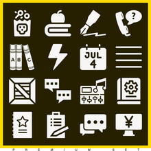 Set Of 16 Text Filled Icons