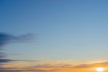 Orange Sunrise. Soft Gradient From Orange To Blue.