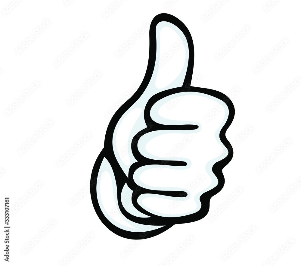Fototapeta Thumbs up vector icon. Hand showing symbol Like. Making thumb up gesture Vector illustration isolated on a white background.