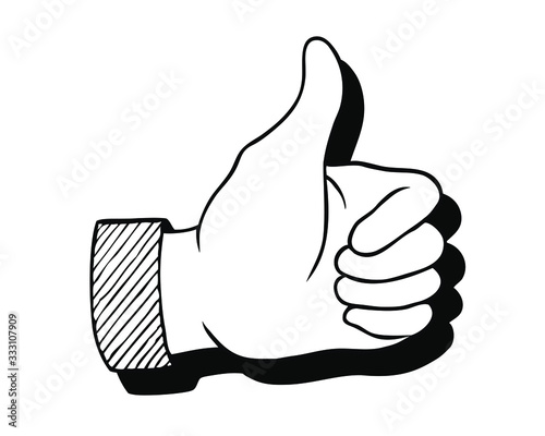 Fototapeta Thumbs up vector icon. Hand showing symbol Like. Making thumb up gesture Vector illustration isolated on a white background. obraz