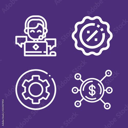 Fototapeta Set of 4 sales outline icons obraz na płótnie