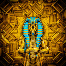 The Sacred King / 3D Illustration Of Golden Futuristic Male Egyptian Pharaoh Covered In Hieroglyphic Symbols Inside Gold Temple
