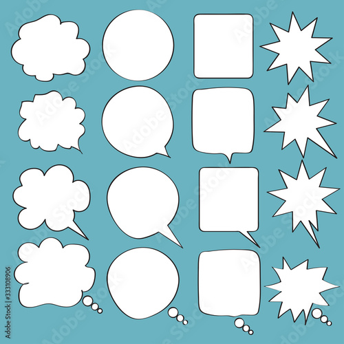 Photo speech bubbles doodle set with accentuation