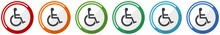 Wheelchair Icon Set, Flat Desi...