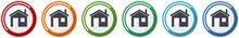 House Icon Set, Home, Flat Des...