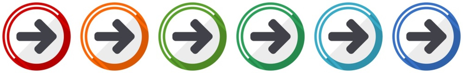 Right arrow icon set, next flat design vector illustration in 6 colors options for webdesign and mobile applications